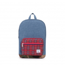 ������ Herschel Pop Quiz Youth Navy Crosshatch/Red Plaid/Woodland Camo/Red & Navy WP Zipper/Red Rubber Backtab