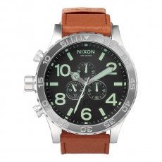 Часы NIXON 51-30 Chrono LEATHER BLACK/SADDLE