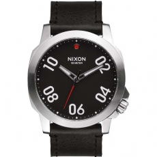 Часы NIXON RANGER 45 LEATHER BLACK/RED