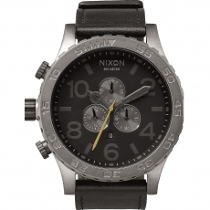 Часы NIXON 51-30 Chrono LEATHER  ALL GUNMETAL/BLACK