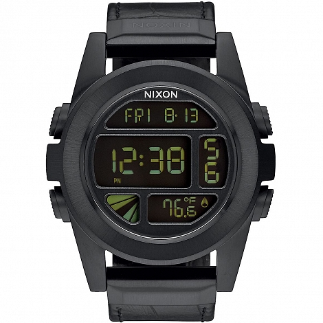 Часы  NIXON UNIT SS LEATHER BLACK GATOR